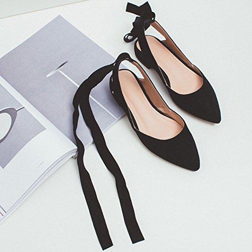 Eu36 Bajo Zapatos Albaricoque De Albaricoque Qidi Mujer 5 sandalias Tacón Moda uk3 Temporada Tamaño color Negro Individuales Verano HRUCWZqw