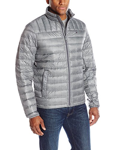 Tommy Hilfiger Men's Packable Down Jacket (Regular and Big & Tall Sizes), Grey Plaid, Medium