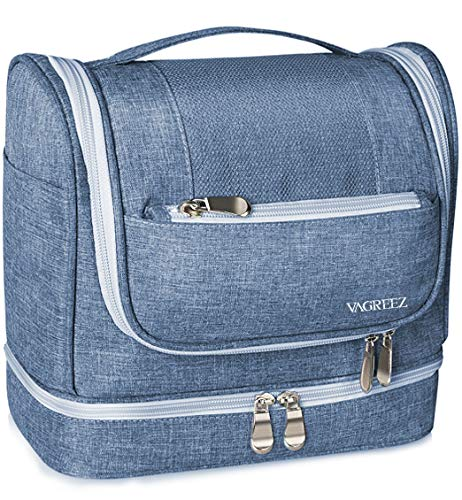 Toiletry Bag, VAGREEZ Hanging Travel Toiletry Organizer Kit with Hook and Handle Waterproof Cosmetic Bag Dop Kit for Men or Women (Large-blue)