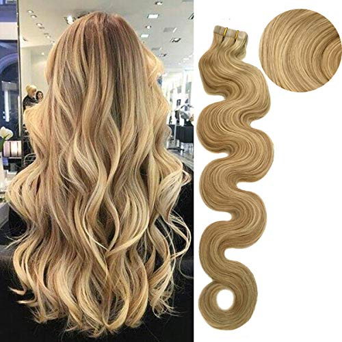 (Remy Tape In Human Hair Extension Full Cuticle Seamless Wavy Skin Weft Hair Extension Highlighted Color #18 Ash Blonde with #613 Blonde 18inch )