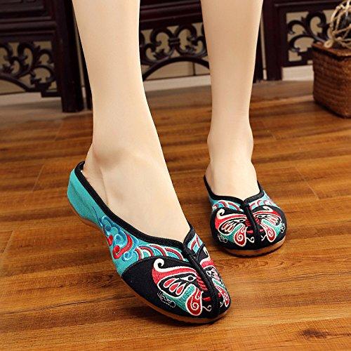 Se amp;G G Zapatillas Zapatillas Sandalias Zapatillas LP Hogar Zapatillas Se oras Retro Vetado oras Open Diapositivas NGRDX Planas Bordados Zapatos Zapatos Oxford OwddT1