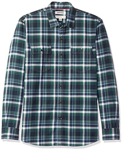 Goodthreads Men's Standard-Fit Long-Sleeve Plaid Twill Shirt, -navy green plaid, (Green Plaid Long Sleeve Shirt)