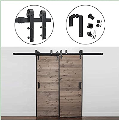 Hahaemall Modern Decorative 12FT/144'' by-Pass Sliding Barn Door Hardware L-Bracket Double Flat Track Roller Rolling for Cloest System