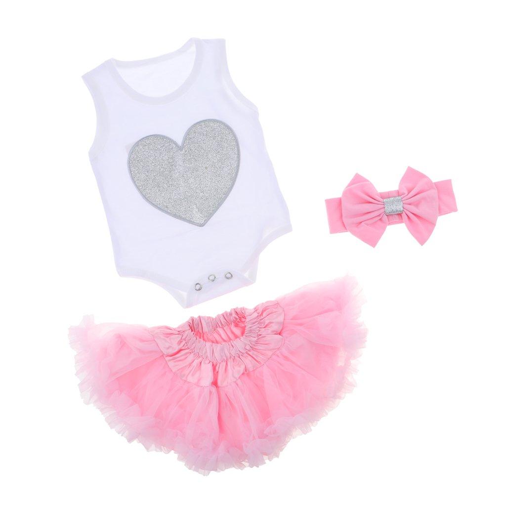 Magideal Tuta Gonna Pagliaccetti Vestiti Maglietta con Clip Abbigliamenti Moderne Per Bambine Neonate