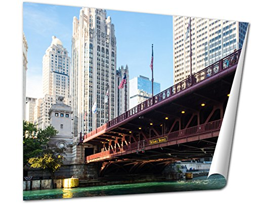 Ashley Giclee Fine Art Print, The Iconic Dusable Bridge And Michigan Ave In Chicago Illinois USA On A Hot, 16x20, - Ave Water Tower Michigan