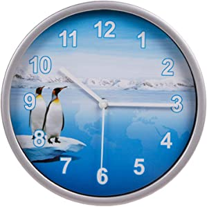 Wall Clock Silver, 8 Inches Silent Non-Ticking Quartz, Ocean Theme Wall Decor with Penguins, Battery Operated Round Clock for Kids Room/Living Room/Office/Kitchen/Classroom, Easy to Read