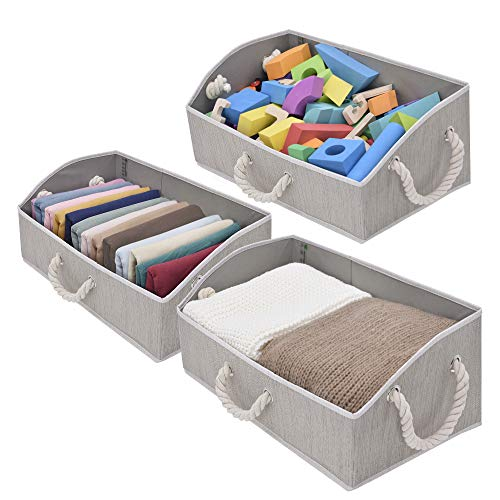 StorageWorks Storage Bins, Fabric Storage Baskets, Foldable Closet Organizer Trapezoid Storage Box, Bamboo Style, Mixing of Gray, 3-Pack