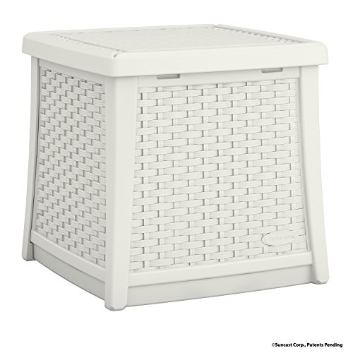 Suncast Elements End Table with Storage - All-Weather, Lightweight, Resin Constructed Patio Table for Storage of Patio Accessories - Outdoor Storage Box with 13 Gallon Capacity - White