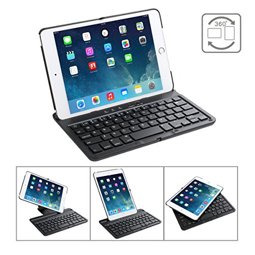 Cstorm iPad mini 4 Bluetooth Wireless Keyboard Case Ultra Thin Auto Sleep Wake up 360 Rotatable Stand Silent Typing Smart Folio Protective Dust-proof Cover