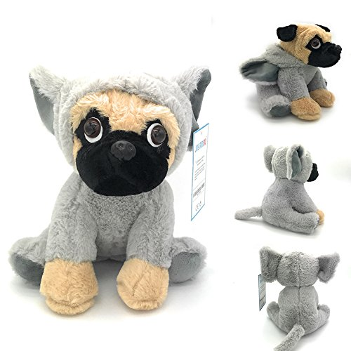 Stuffed Pug Dog Puppy Soft Cuddly Animal Toy in Costumes - Super Cute Quality Teddy Plush 10 Inch (Elephant)
