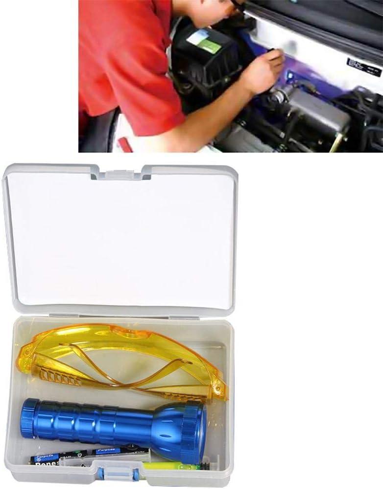 Enjoyall Coche R134A R12 Aire Acondicionado Sistema de A/C Leak Test Detector Kit 28 LED UV Linterna Gafas de Protección UV Dye Tool Set Herramienta de Reparación de Aire Acondicionado Automotriz