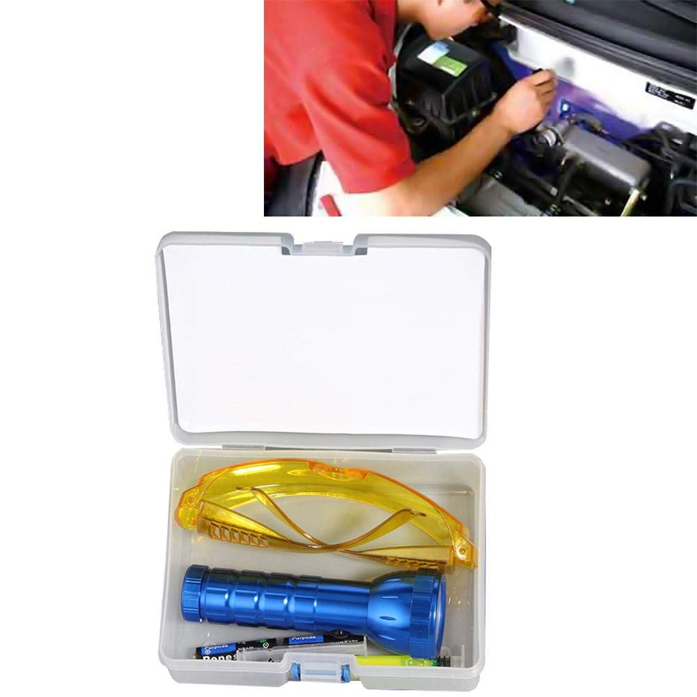 Blacklight Flashlight with Glasses, Car R134A R12 Air Conditioning A/C System Leak Test Detector Kit 28 LED UV Flashlight Protective Glasses UV Dye Tool Set Automotive Air Conditioning Repair Tool