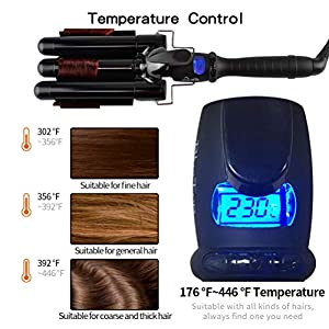 Three Barrel Curling Iron 1 Inch Professional Hair Waver Ceramic Hair Crimper Curling Wand | LCD Temp Display | Wave Curl | Dual Voltage | Salon Home Use Black BLUETOP