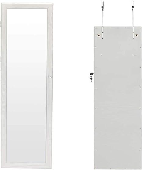 HFJ&YIE&H Gabinete de la joyería Bloqueable Montado en la Pared Joyería Colgante Armadura Organizador de Almacenamiento 2 cajones con Espejo de Cuerpo Entero y luz LED en la decoración del hogar: Amazon.es: