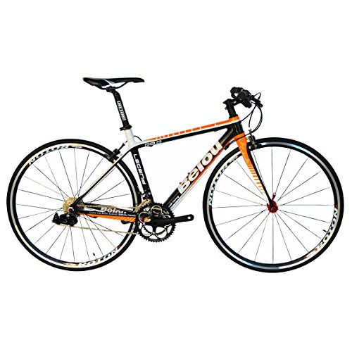 BEIOU 2016 Carbon Comfortable Bicycles 700C Road Bike LTWOO 210 Speed SRAM Brake Complete 18.3 lb Hybrid Bike Toray T800 Fiber CB0012B (White Orange, 480mm)