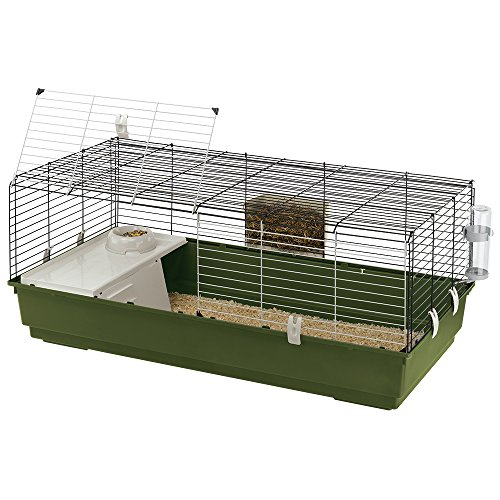 Ferplast RABBIT 120 Rabbit Habitat Cage, Safety Closing System, Accessories Included