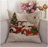 Red Truck Tree Christmas' Sofa Decoration Pillow Cover 18X18 inches