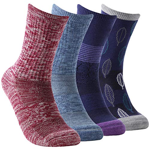 Cushion Hiking Socks,Women's Extra-fine Merino Wool Socks Mid Calf Breathable Mesh Athletic Outdoor Crew Socks Moisture Wicking Running Socks with Arch Support Vive Bears,4 Pack