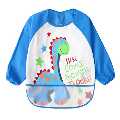 Baby Bibs Waterproof and Wipeable-Eat and Play Smock Apron(6-36 Months) (Blue)