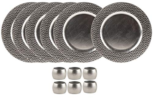 Round Charger Plates and Napkin Rings Set - 6-Piece 13-Inch Silver Charger Plates with 6-Piece Napkin Rings, For Special Events, Weddings, Banquets by Juvale