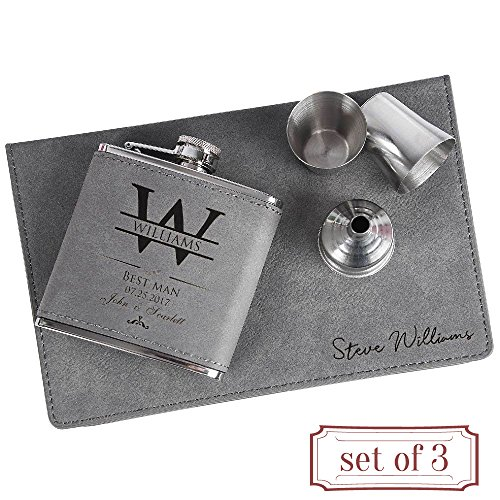 Set of 3 - Personalized 6oz Leatherette Flask Groomsmen Gift Set Engraved Flask Groomsman Gifts Personalized Flask Groomsman Kit, Wedding Favor Customized Flask for Liquor | Charcoal #3