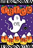 Trick or Treat - Halloween Ghost Pumpkins and Candy Corn Garden Size 12 X 18 Inch Decorative Flag