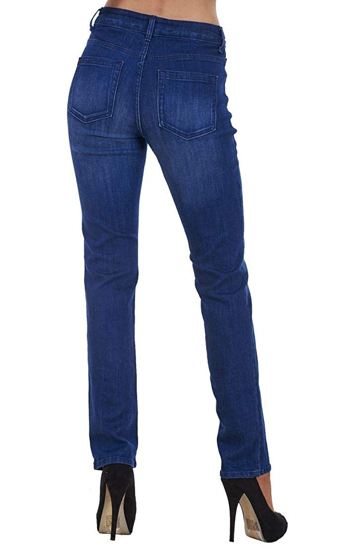 Pantalones Vaqueros para Mujer - Corte Recto - Talle semialto - Tejido elástico - Índigo - Azul