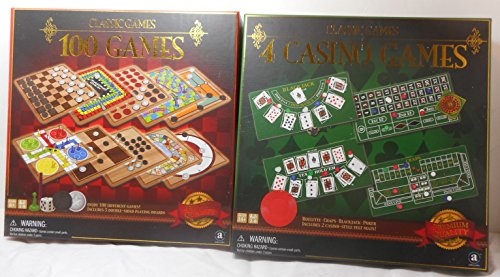 Bundle – Classic Games (100 Games – 5 double sided playing boards & Game Pieces) and Classic Games (4 Casino Games – Blackjack, Roulette, Texas Hold'Em, Craps)