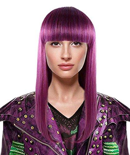 Womens Straight Purple Fancy Wig for Adult HW-1418