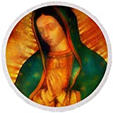 Pixels Round Beach Towel With Tassels featuring ''Our Lady Of Guadalupe'' by Bill Cannon