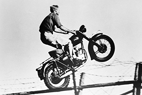 (Steve McQueen The Great Escape Famous Fence Jump on Triumph Motorcycle 18x24 Poster )