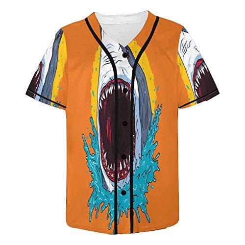 InterestPrint Men's Creative Shark Attack Hipster Hip Hop Button-Down Baseball Jersey Short Sleeve Shirt S