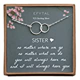 EFYTAL Sister Gifts from Sister, 925 Sterling Silver Double Circle Necklace, Birthday Jewelry Gift Necklaces for Sisters, No Matter: more info