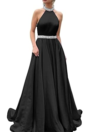 f2ab9bef02 Formal Lady Women s Halter Beaded Satin Prom Dress Long A Line Open Back  Evening Gowns Formal FL013 at Amazon Women s Clothing store