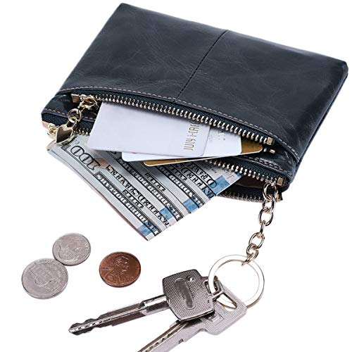 Itslife RFID BLOCKING Triple Zipper Leather Mini Coin Purse Card Holder with Key Chain (Dusty Blue)