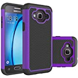 Samsung Galaxy J3 J3(6) Rugged Impact Heavy Duty Dual Layer Shock Proof Case Cover Skin - Purple