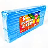JUGGLEPIE Colorful Modeling Clay for Kids | Bulk Pack of 1.1 Pound Size Brick - Art Toys for Creative Children, Soft and Easy to Mold, Non-Hardening, Non-Toxic and Never Dries Out – Large (Blue)