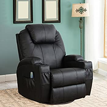 esright massage recliner chair heated pu leather ergonomic lounge 360 degree swivel black - Swivel Recliner Chairs For Living Room