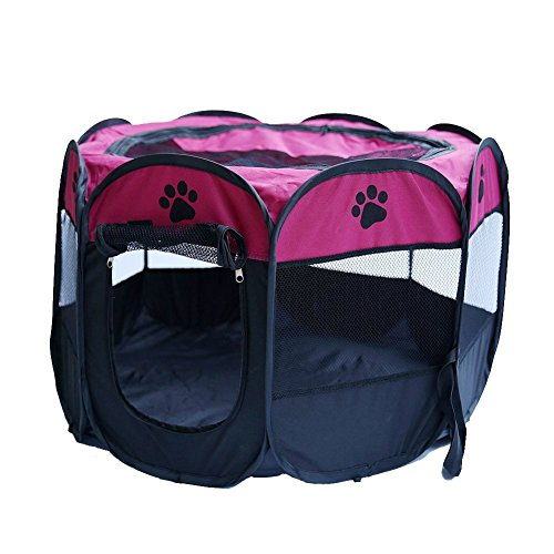 Machao Pet Foldable Exercise Kennel Dogs Cats Rabbits Pigs Indoor/outdoor Removable Tent Playpens Mesh-Rose