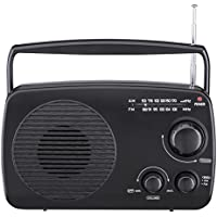 PR-113 AM/FM 2 Band Portable Radio AC operated or operated by dry battery (C Size x 4pcs, battery not included), black