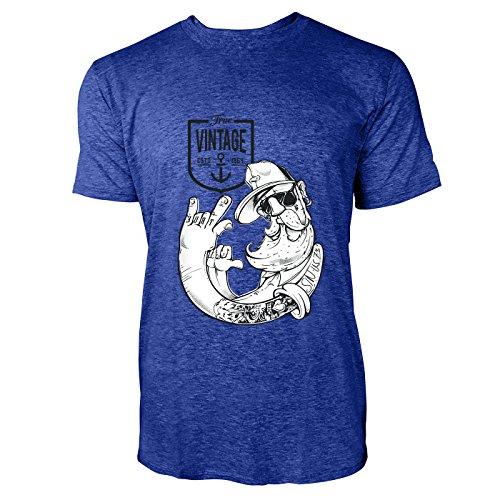 SINUS ART® Tätowierter Hipster Opa Herren T-Shirts in Vintage Blau Cooles Fun Shirt mit tollen Aufdruck