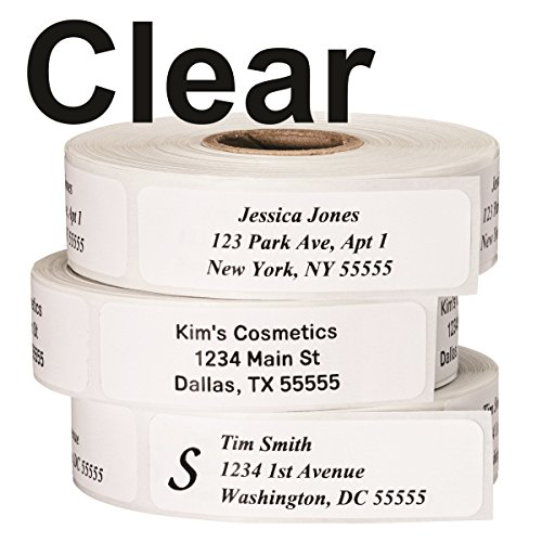 3/4 Clear Address Labels - Return Address Labels - Roll of 500 Personalized Labels (Clear)
