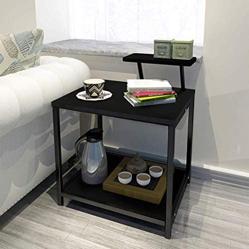 Jerry Maggie – Nightstands Modern Style W Desktop Shelf Hollow Shelves Steel Frame Wood Surface Panel 2 Tier Racks Space Saver Design – Bed Side Table Ending Table Nightstand Shelves Black