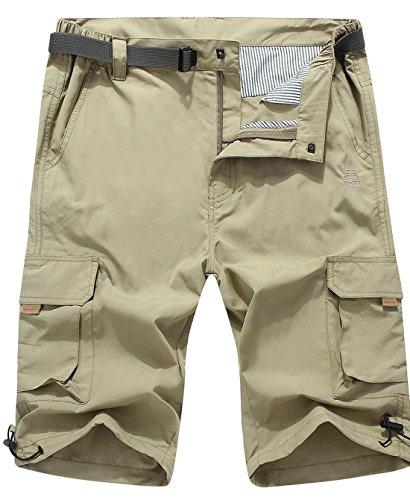 Chouyatou Men's Multi-Pocket Waterproof Belted Cargo Shorts Side Elastic (Large, Khaki)