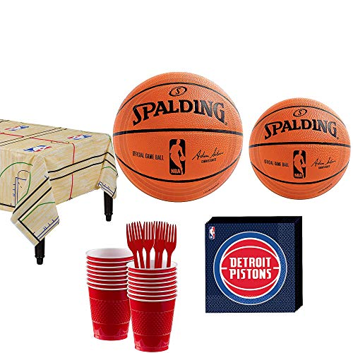 Party City Detroit Pistons Party Kit 16 Guests, Includes Table Cover, Plates, Napkins and -