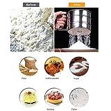 YRD TECH Stainless Steel Sieve Cup Screen Mesh Powder Flour Colander Sieve Hand Crank (Silver)
