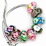 HYBEADS 4pcs 925 Sterling Silver Lampwork Murano beads charm fit for Snake Chain bracelet And European Bracelet