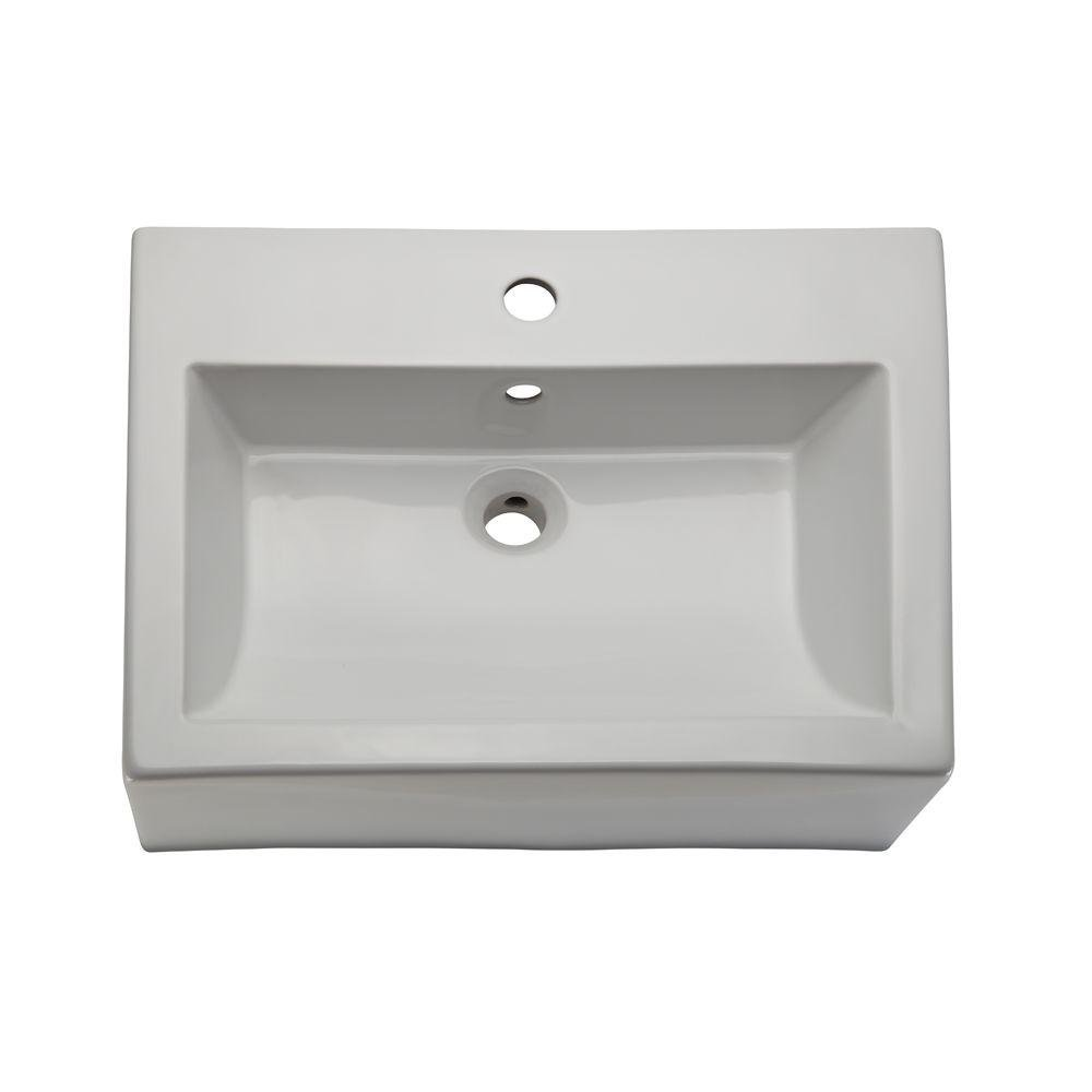 DECOLAV 1417-1-CWH Bluebell Classically Redefined Rectangular Above-Counter Vitreous China Bathroom Sink with Overflow, White