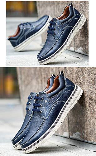 Azul 8 tamaño cómodos de Hombres HhGold Punta Zapatos los Cuero Mocasines Cordones UK Hombres Ocasionales Color para de 7 US relajantes de Marrón con gOHUOq