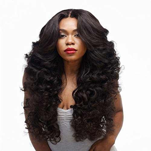 SmartFactory Long Black Wavy Curly Synthetic Mid-Split Human Hair Wig For Women Halloween Cosplay -